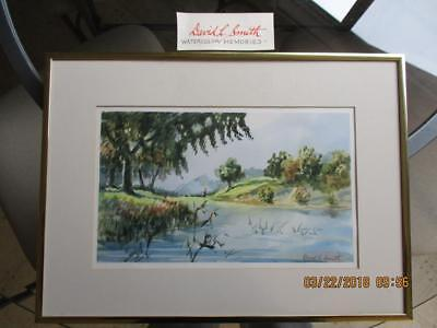 DAVID L SMITH 1921-2016 Listed Artist Ohio FRAMED MATTED SIGNED WATERCOLOR - $38.99