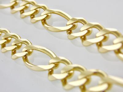 80a4ac842508 HOMBRES Mujer 14K Oro Amarillo Macizo 9.5mm Cadena Figaro Collar 71.1cm  Envío