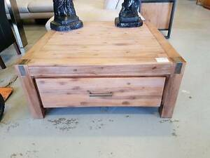 CLEARANCE!! 900mm SQUARE coffee table brushed timber Springwood Logan Area Preview