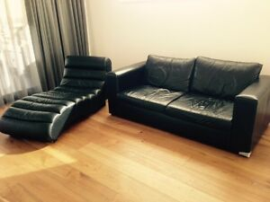 Black leather sofa & chaise Wembley Cambridge Area Preview