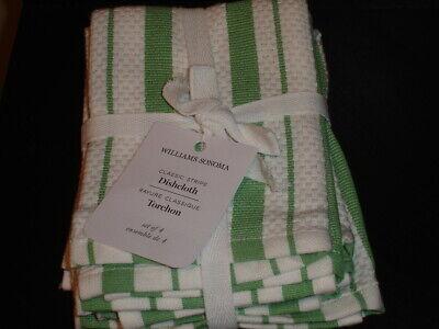 WILLIAMS SONOMA KITCHEN CLASSIC STRIPE DISHCLOTH SET OF 4 GREEN WHITE  Stripe Dish Cloth
