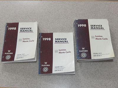 1998 Chevrolet Monte Carlo Lumina Service Repair Shop Manual 3 Volume Set