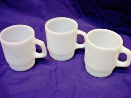 3 Vtg Anchor Hocking Fire King White Glass Stacking Coffee Cups Mugs 8 oz