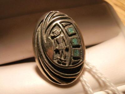 #4516,Estate Native American Turq/Silver Ornate Geometrical Design Ring ()