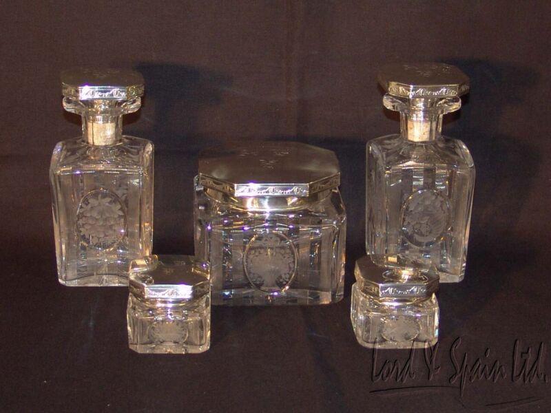 Hawkes 5 Piece Cut Glass & Sterling Silver Lids Dresser/Vanity Set