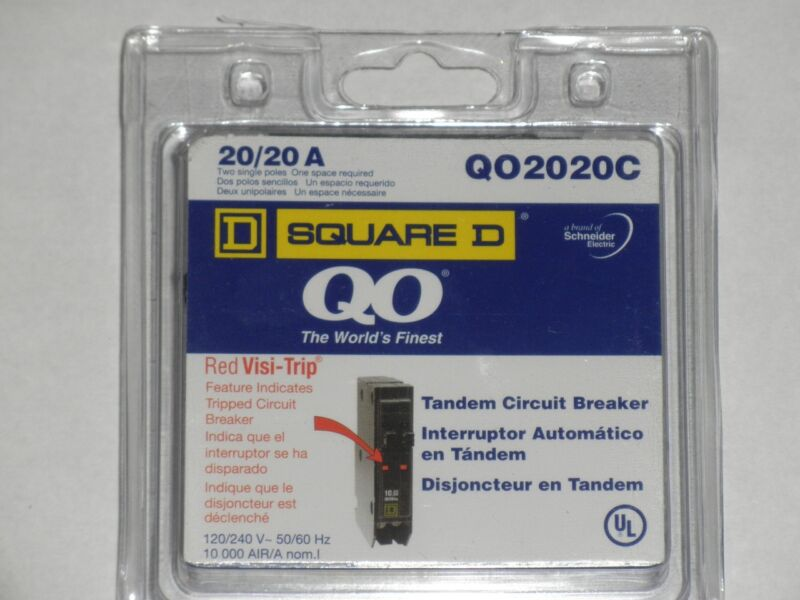 SQUARE D QO2020C QO2020 20A TWIN BREAKER   NEW IN PACKAGE