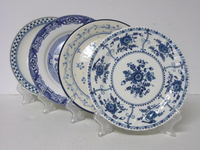 """4 Vintage Mismatched China Salad Dessert Plates Blue & White 7-3/4"""" - 8-1/4"""""""