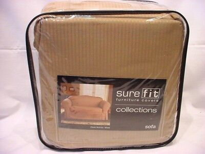 "SURE FIT SOFA COVER CLASSIC NATURAL WHEAT FITS SOFA 74""-94"" NIP"