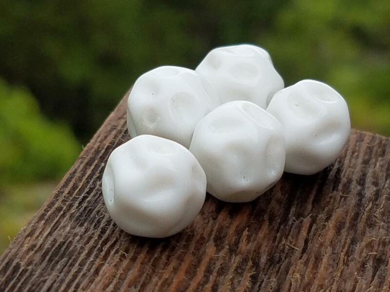 Vintage Glass Beads ~ White Pitted Indented Round 12mm DIY Jewelry Making Design