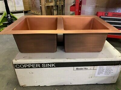 Double Basin 35 in Smooth Solid Copper Kitchen Sink Handmade Drop In Basin Drop In Kitchen Sink