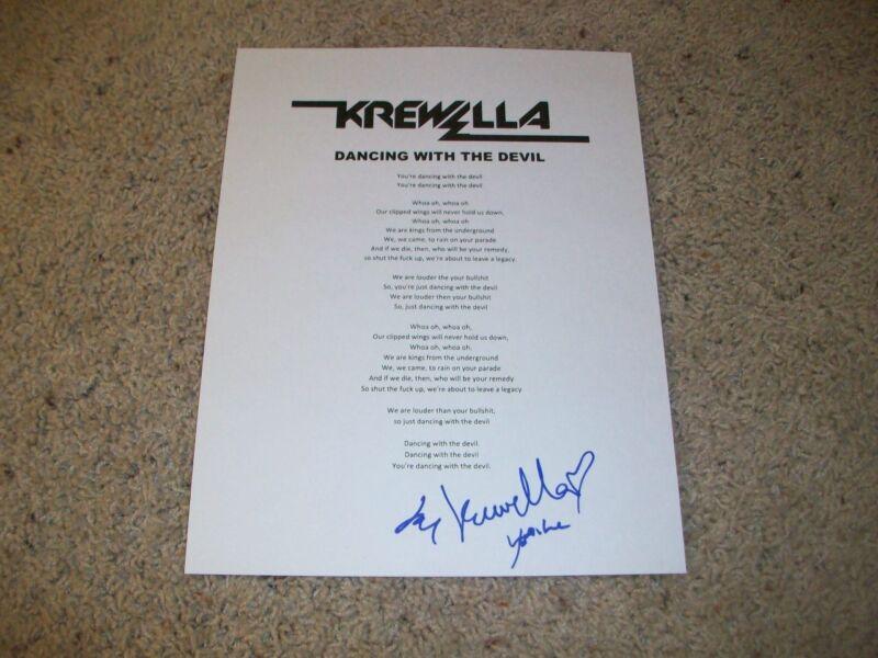 KREWELLA BAND SIGNED AUTOGRAPH DANCING WITH THE DEVIL LYRIC SHEET w/PROOF LYRICS
