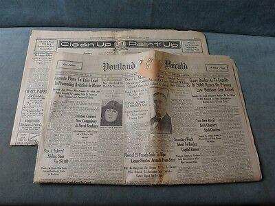 Ty Cobb Ties Record W 3 Home Runs 5 6 1925 Newspaper Portland Press Herald