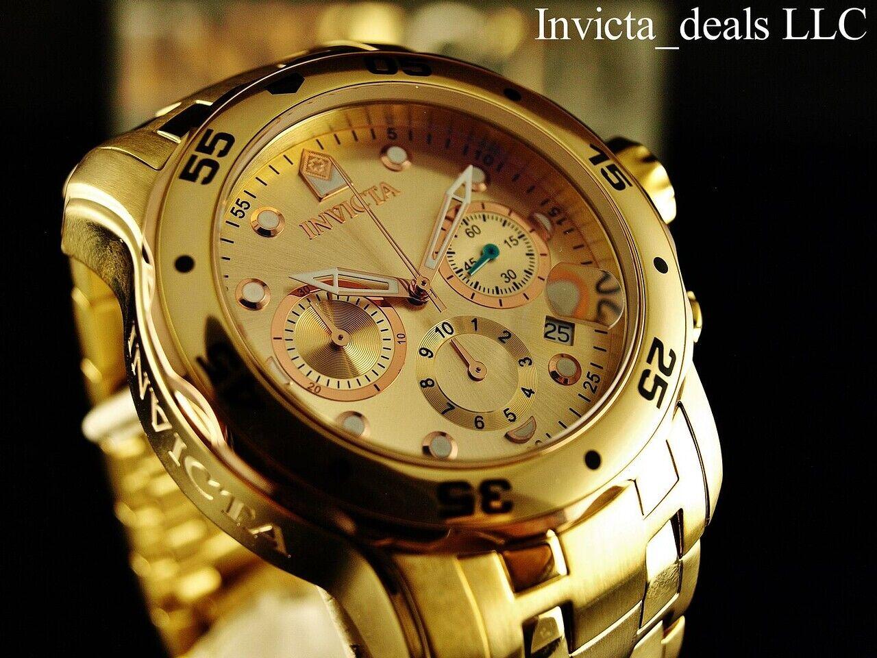 Invicta Men s 48mm PRO DIVER Scuba Chronograph Champagne Dial 18K Gold IP Watch - $107.89