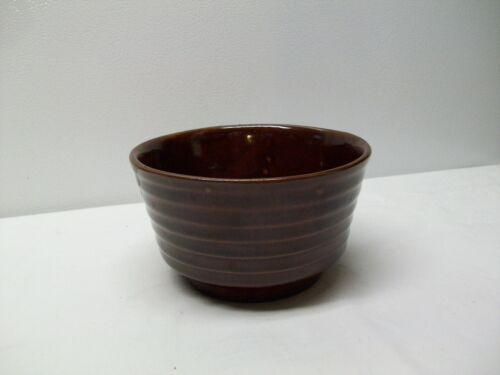 Vintage Brush Pottery Ringed Brown Glaze Mixing Bowl