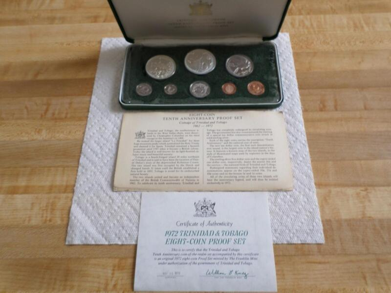 Franklin Mint 1972 Trinidad & Tobago 8-coin Proof Set-certificate-Anniversary-10