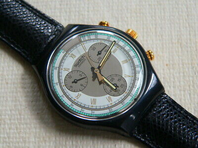 1992 Swiss Swatch Watch Chronograph Colossal Leather band, New