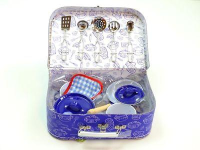 Koch-Set Emaille Metall Küchenzubehör Spielset Zubehör Küche Topf Pfanne blau