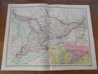Antique c1904 Colour Map of UPPER CANADA & THE ST. LAWRENCE HARMSWORTH ATLAS VGC