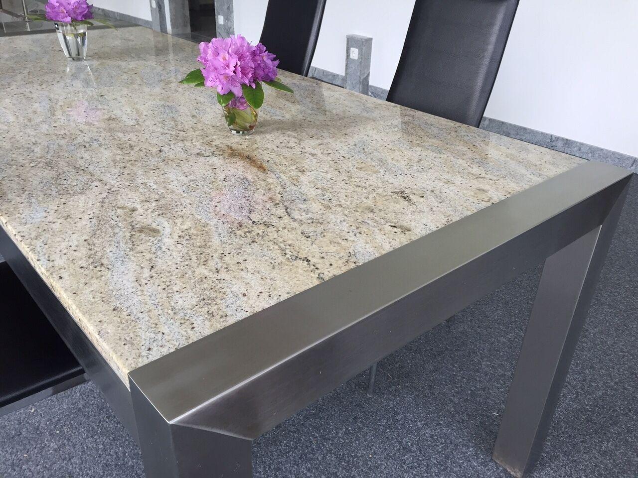 Stabiler edelstahltisch esstisch wohnzimmertisch mit for Esstisch granit