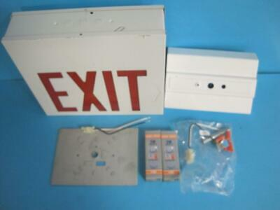 Lithonia F2xsw1r 277 El Flouresent Light Exit Sign Red Letter Battery Powered