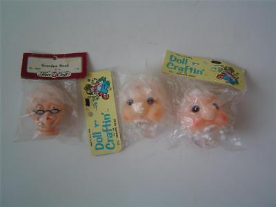 "3 Doll Heads 2 3/4"" GRANDPA Fibre-Craft & (2) 3 1/4"" GRAMPS Doll Craftin' Heads"