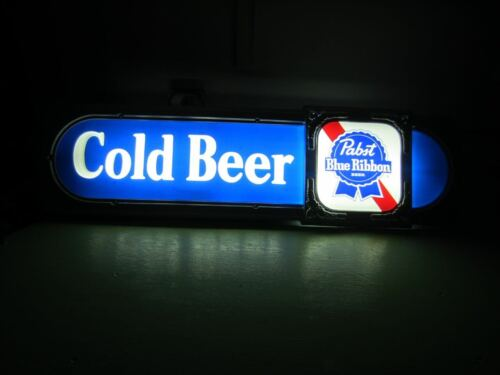 "Vintage 39""x102 PABST Blue Ribbon Cold Beer Lighted Sign New w/Original Box"