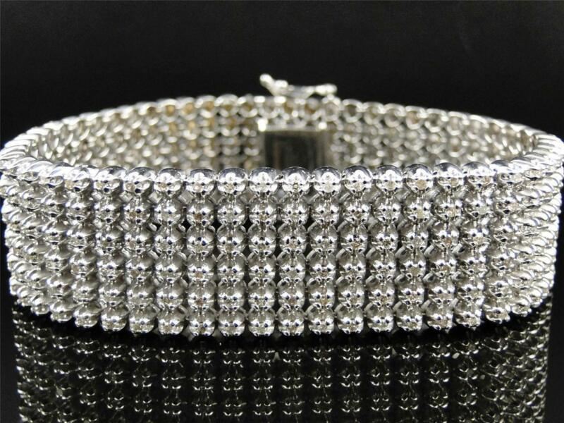 Mens 6 Row Toni 10k Solid White Gold Genuine 22 Mm Diamond Bracelet Bangle 9 Ct
