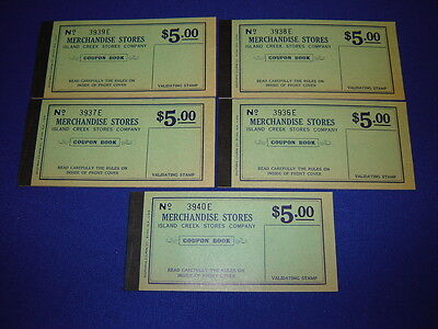 lot of 5 $5.00 Island Creek Company Store coal mine scrip coupons uncirculated](Party Store Coupons)
