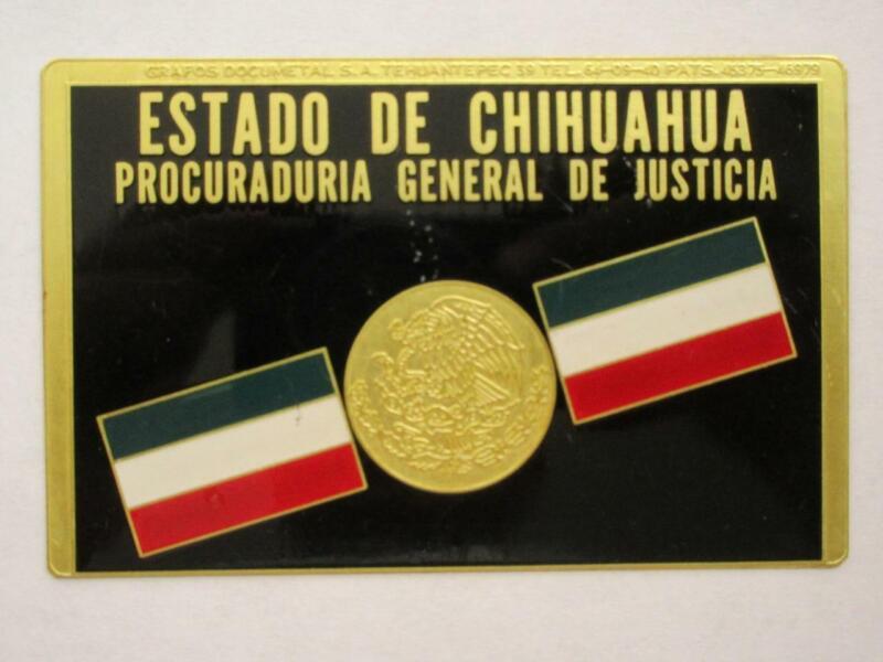 OBSOLETE 1960s CHIHUAHUA MEXICO PROCURADURIA GENERAL MEXICAN POLICE BADGE