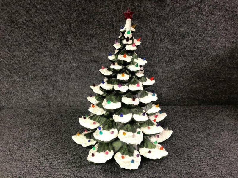 """Vintage 21"""" Ceramic Flocked Christmas Tree"""