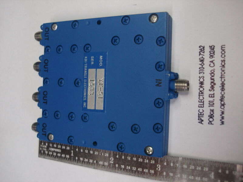 KDI/Triangle Microwave YF-51 0.5-2.0 GHz 4 way inphase power divider combiner