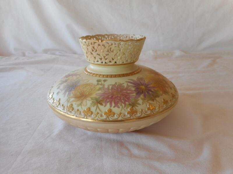 Royal Worcester W/G & Sons Squat Floral HP Reticulated Rim Vase #5115 C 1897