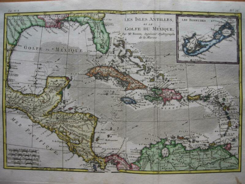 1780 - BONNE - Map WEST INDIES  CUBA  Gulf of Mexico  FLORIDA  Inset BERMUDA Is