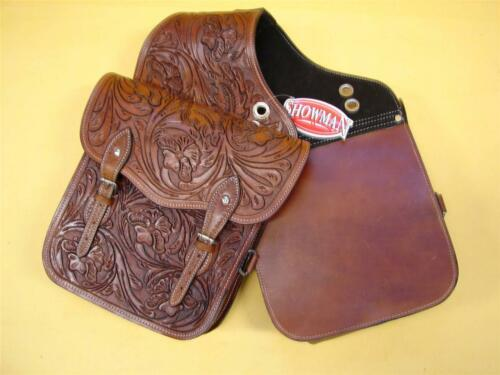 Western Trail Horse or Motorcycle Saddle Bag Bags Hand Tooled Brown Leather