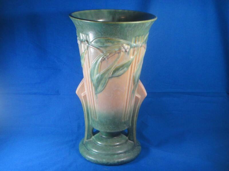 """Rare Vintage Arts & Crafts Roseville Green Laurel Pattern 14-3/8"""" Vase # 678-14"""