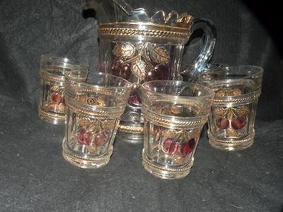 ANTIQUE GLASS EAPG NORTHWOOD cherry and cable WATER SET PITCHER 5 TUMBLERS RUBY