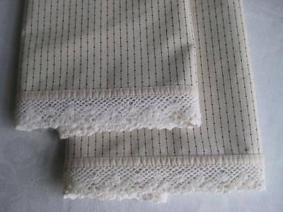 Ralph Lauren Standard Pillowcases Cold Spring Black Pinstripe Crochet Lace (Ralph Lauren Spring Lace)