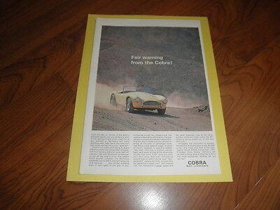 "Vintage COBRA AD ""Fair Warning""-Original Magazine Print-1962"
