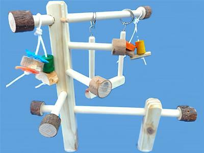WOOD CAGE TOP PLAY GYM-TWIN MOUNT-WITH SWING, & TOYS