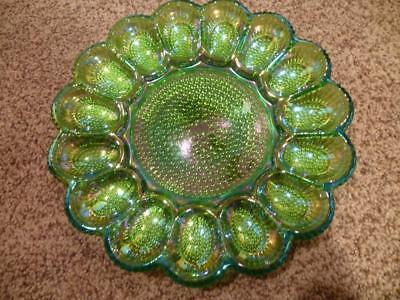 Indiana Carnival Glass Iridescent Green Deviled Egg Platter Dish Plate Hobnail