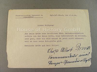 53600: BRUX , Albert, als Oberst am 25.4.44, Schreibmaschinenbrief