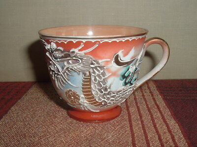 (2) Orion Dragonware Tea Demitasse Cup Decorated MORIAGE Made in Occupied Japan