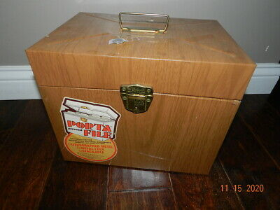 Vintage Personal Porta File-metal Storage Tin Container Brown Wood Pattern Key