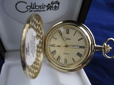 COLIBRI GOLD FACE GOLDTONE POCKET WATCH  ENGRAVEABLE SHIELD WITH DATE & - Colibri Gold Pocket Watch