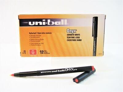 Uni-ball Onyx Red Ink Fine Point 0.7mm Roller Ball Pen 1-box 12-pens New 60144