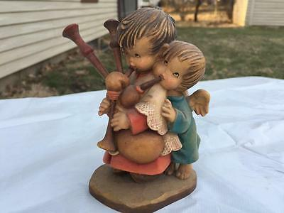 """Vintage ANRI Wooden Carved Bagpipe Player Children Figure THE HELPER 5"""" Tall"""