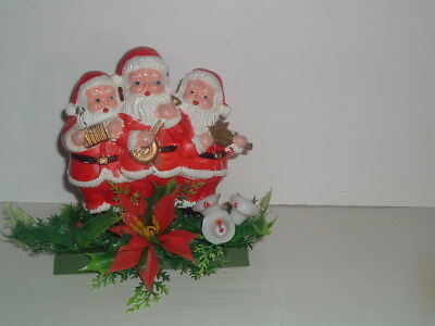 VTG 3-PLASTIC SANTA CLAUSE PLAYING INSTRUMENTS  DISPLAY