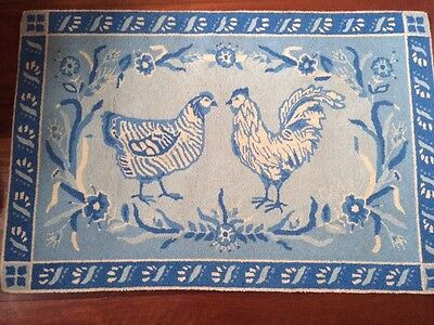Claire Murray Rug Retired Hand Hooked 100% Wool Country Blue & White 32 X 50