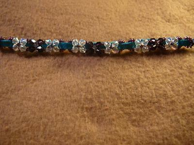 Sparkly Crystals on Sueded Leather Ankle Bracelet - Native American Indian