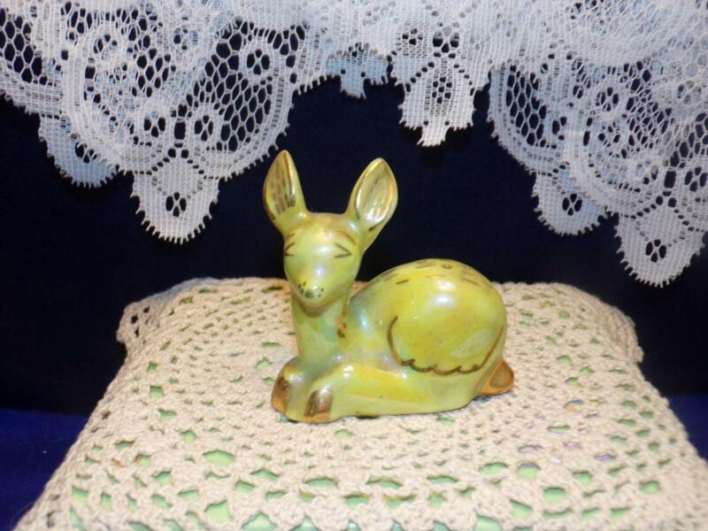 Vintage green/yellow DEER SHAKER/   Figurine- gold details